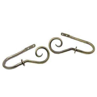 Curl Decorative Holdback Pair in Antique Brass