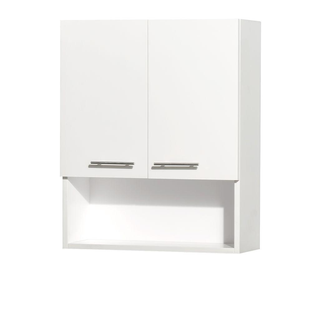 Wyndham Collection Centra 24 in. W x 29 in. H x 8 1/2 in. D Bathroom Storage Wall Cabinet in White