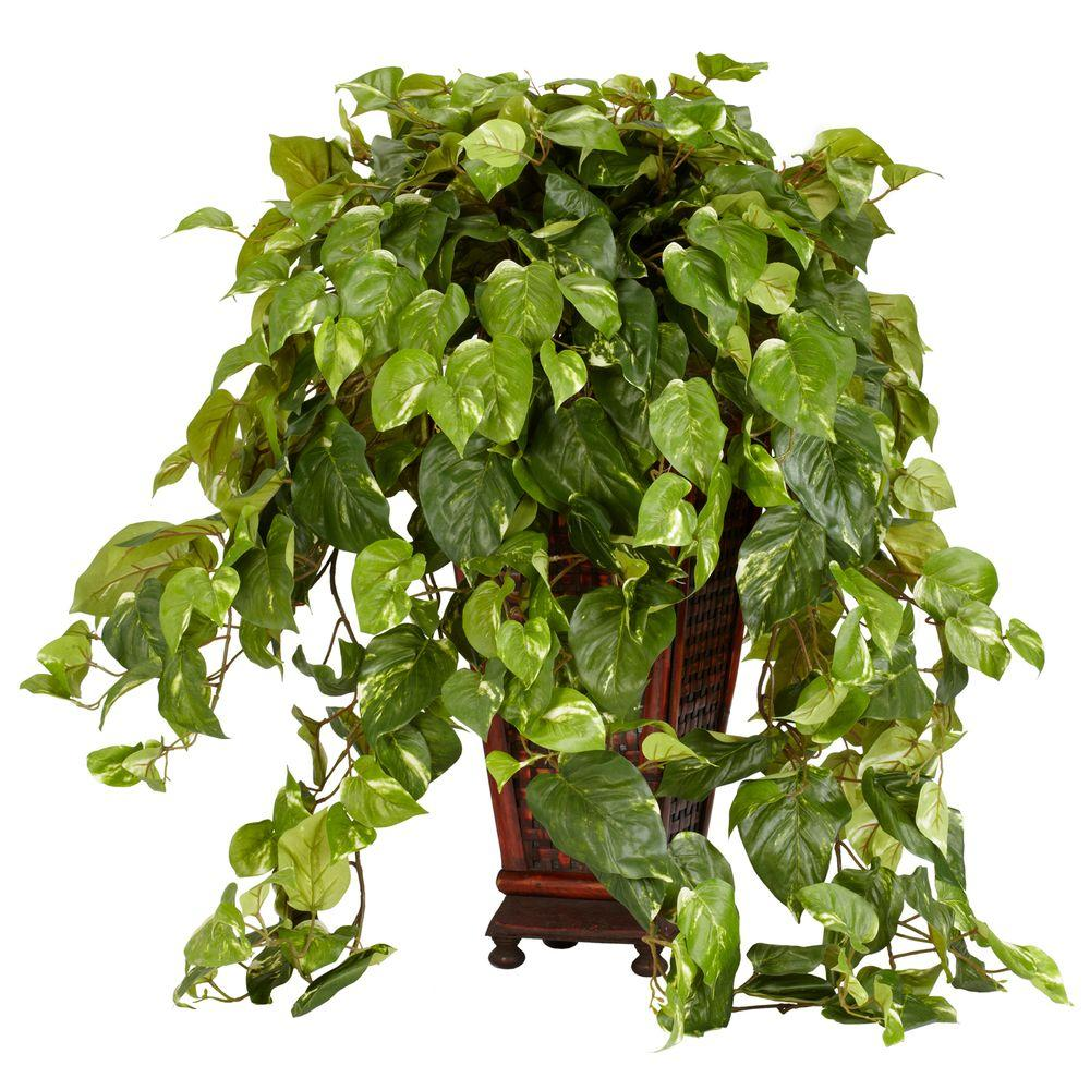 null 36 in. H Green Vining Pothos with Decorative Vase Silk Plant