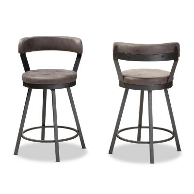 Arcene 26 in. Gray and Black Pub Stool (Set of 2)