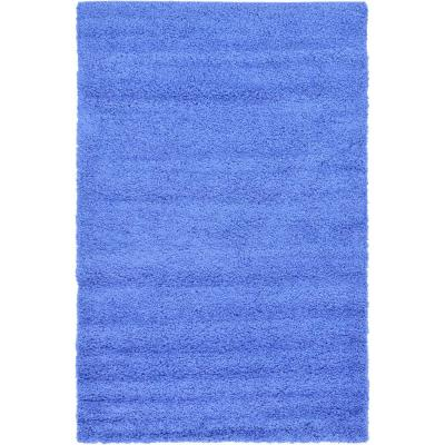 Solid Shag Periwinkle Blue 5 ft. x 8 ft. Area Rug