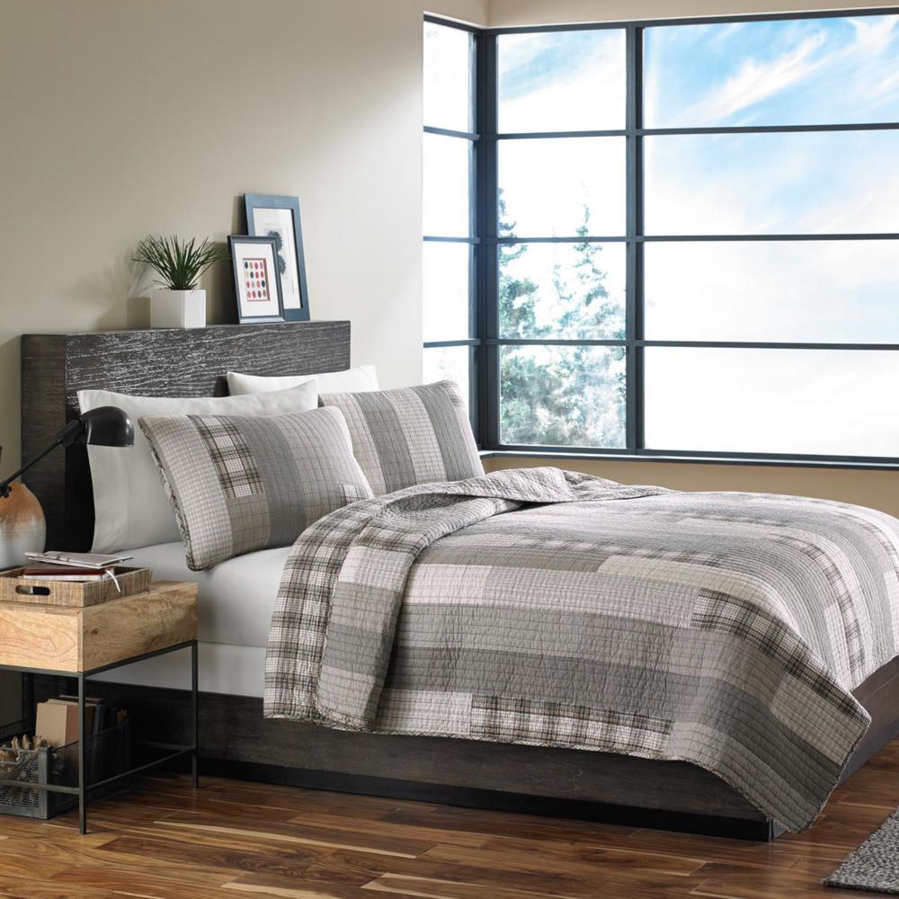 Fairview 3-Piece Gray Plaid Cotton King Quilt Set