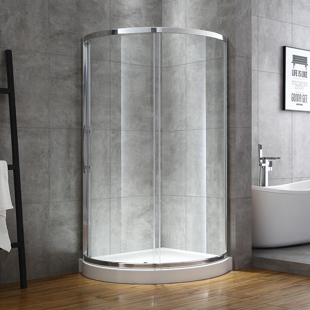 Maia 38 in. x 75.80 in. Semi-Frameless Sliding Shower Door in Chrome with 38 in. x 38 in. Base in White