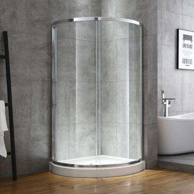 Maia 38 in. x 75.80 in. Semi-Frameless Sliding Shower Door in Chrome with 38 in. x 38 in. Base in White