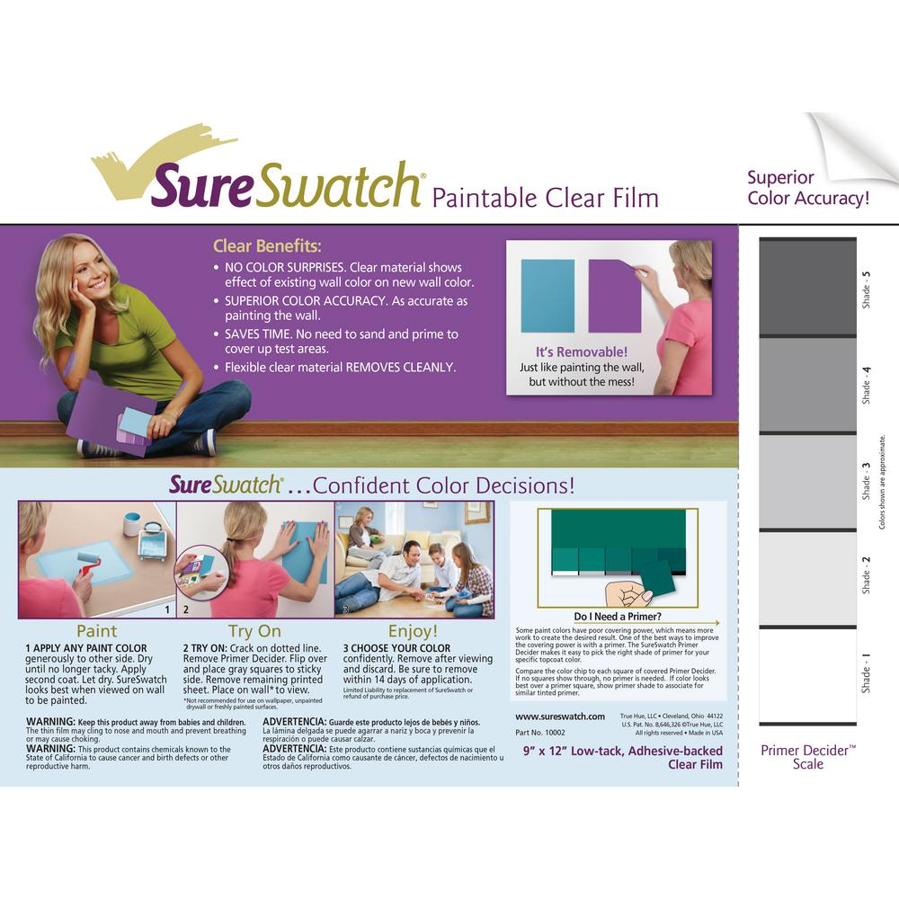 SureSwatch 9 in. x 12 in. Paintable Clear Film (15-Pack)