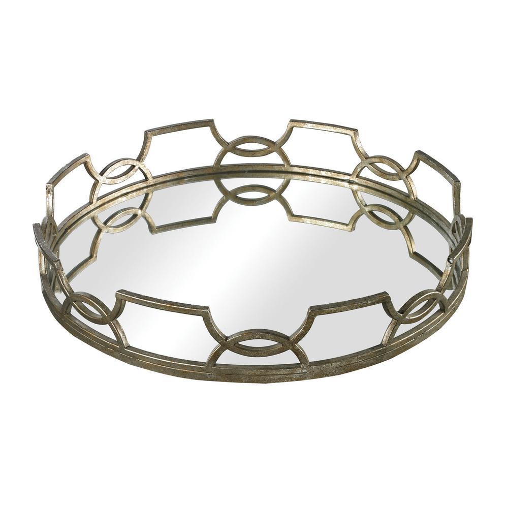 Titan Lighting Iron Scroll 16 In X 3 Round Mirrored Decorative Tray