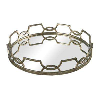 Iron Scroll 16 in. x 3 in. Round Mirrored Decorative Tray