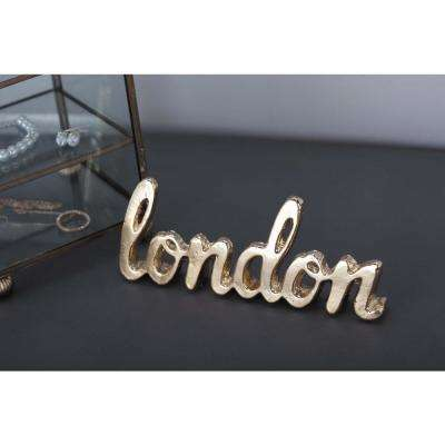 7 in. x 2 in. Gold and Silver Aluminum London Letter Cut-outs (Set of 2)