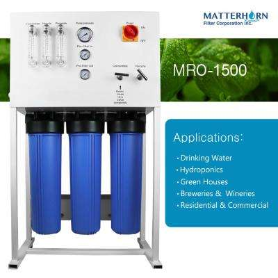 Commercial Reverse Osmosis System for Drinking Water and Hydroponics Applications 1,500 GPD