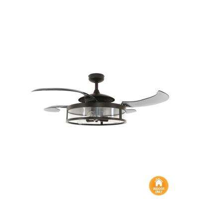 Classic 48 in. Indoor Antique Black and Smoke AC Ceiling Fan with Light Kit and Remote Control