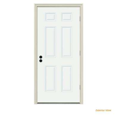 36 in. x 80 in. 6-Panel White Painted Steel Prehung Left-Hand Outswing Front Door w/Brickmould
