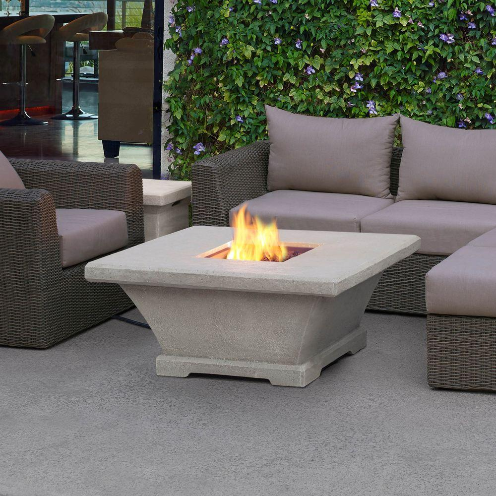 Monaco 42 in. Fiber-Concret Square Propane Gas Fire Pit in Cream