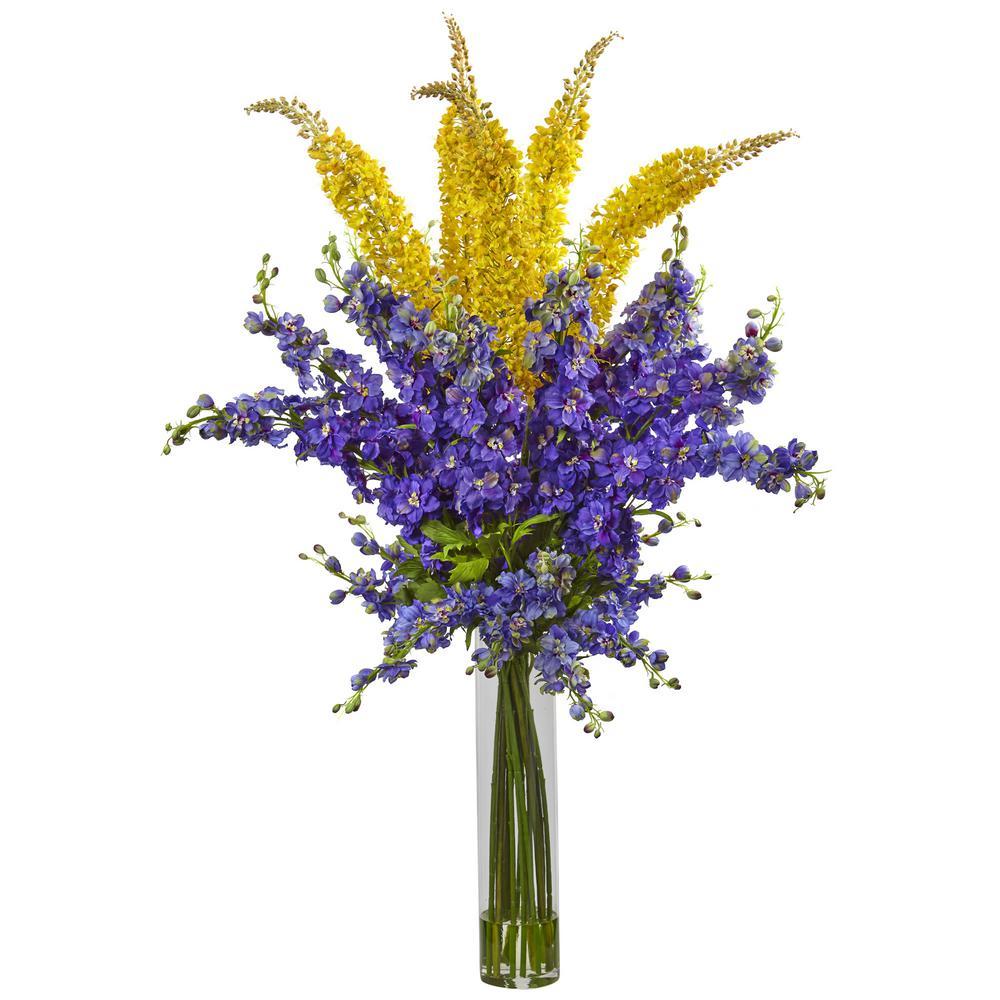 Delphinium and Foxtail Silk Floral Arrangement