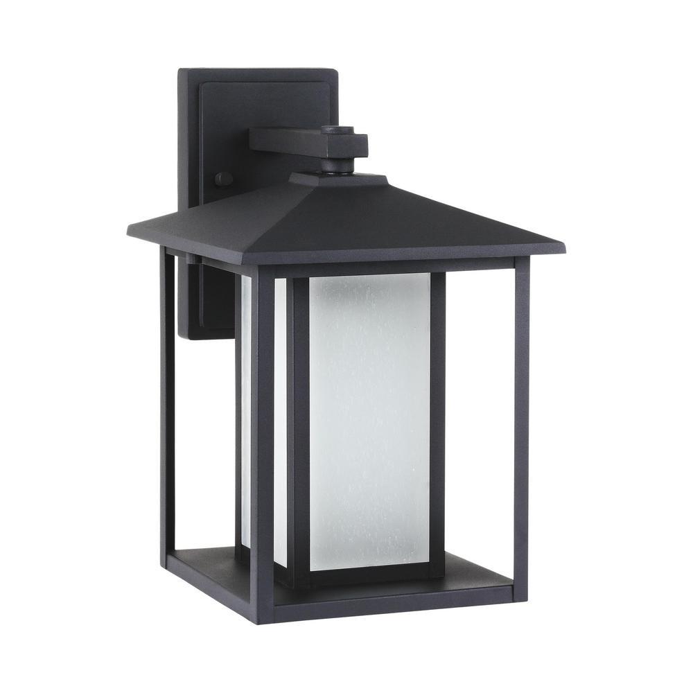 Hunnington Black Outdoor 14 in. Integrated LED Wall Mount Lantern