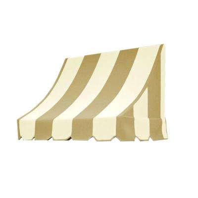 4 ft. Nantucket Awning (31 in. H x 24 in. D) in Tan/White Stripe