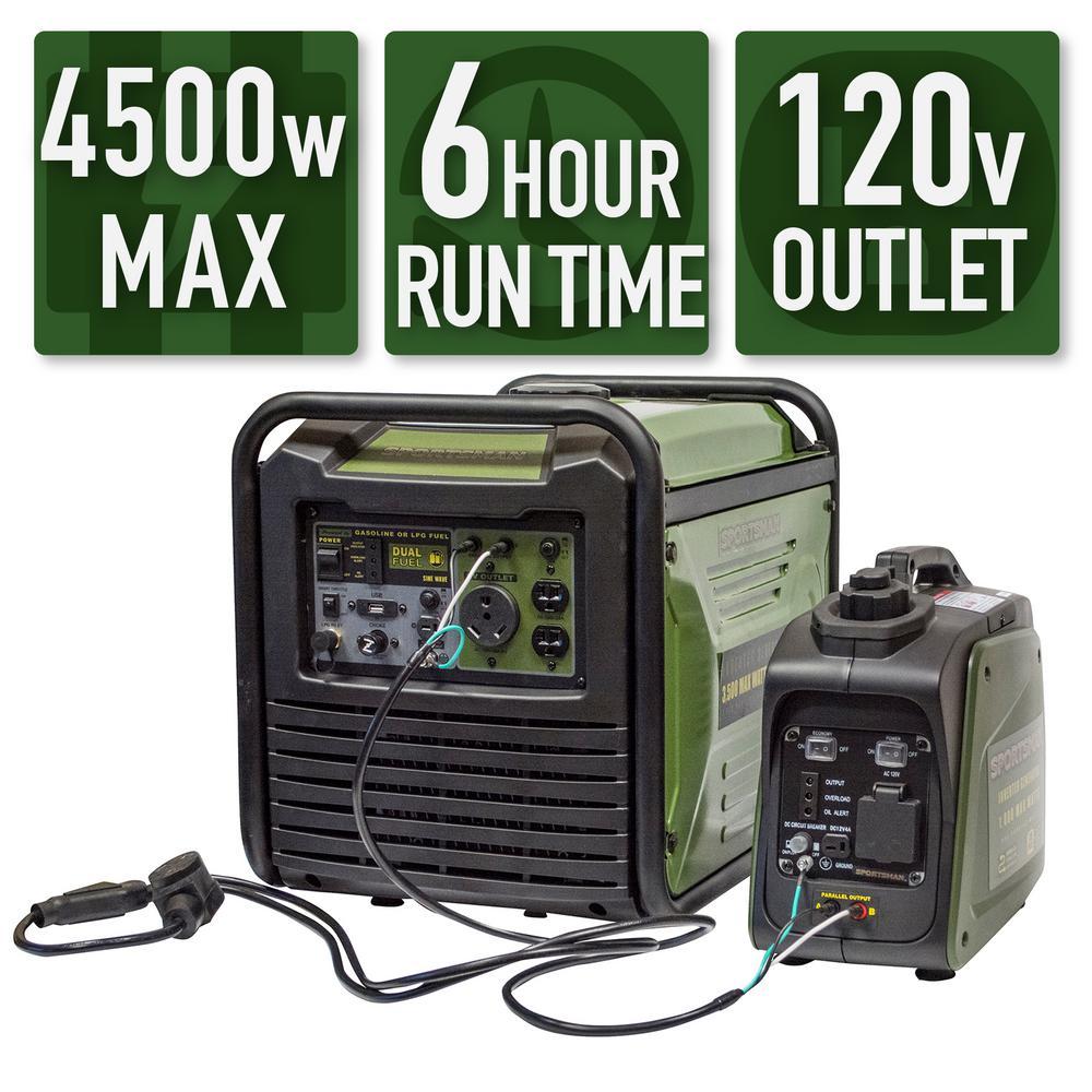 4,500-Watt/3,800-Watt Gasoline Powered Recoil Start Portable Digital Inverter Generator Kit with 30 Amp Parallel Cable