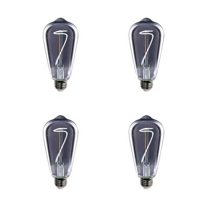 25-Watt Equivalent ST19 Dimmable LED Smoke Glass Vintage Edison Light Bulb With Curve Filament Daylight (4-Pack)