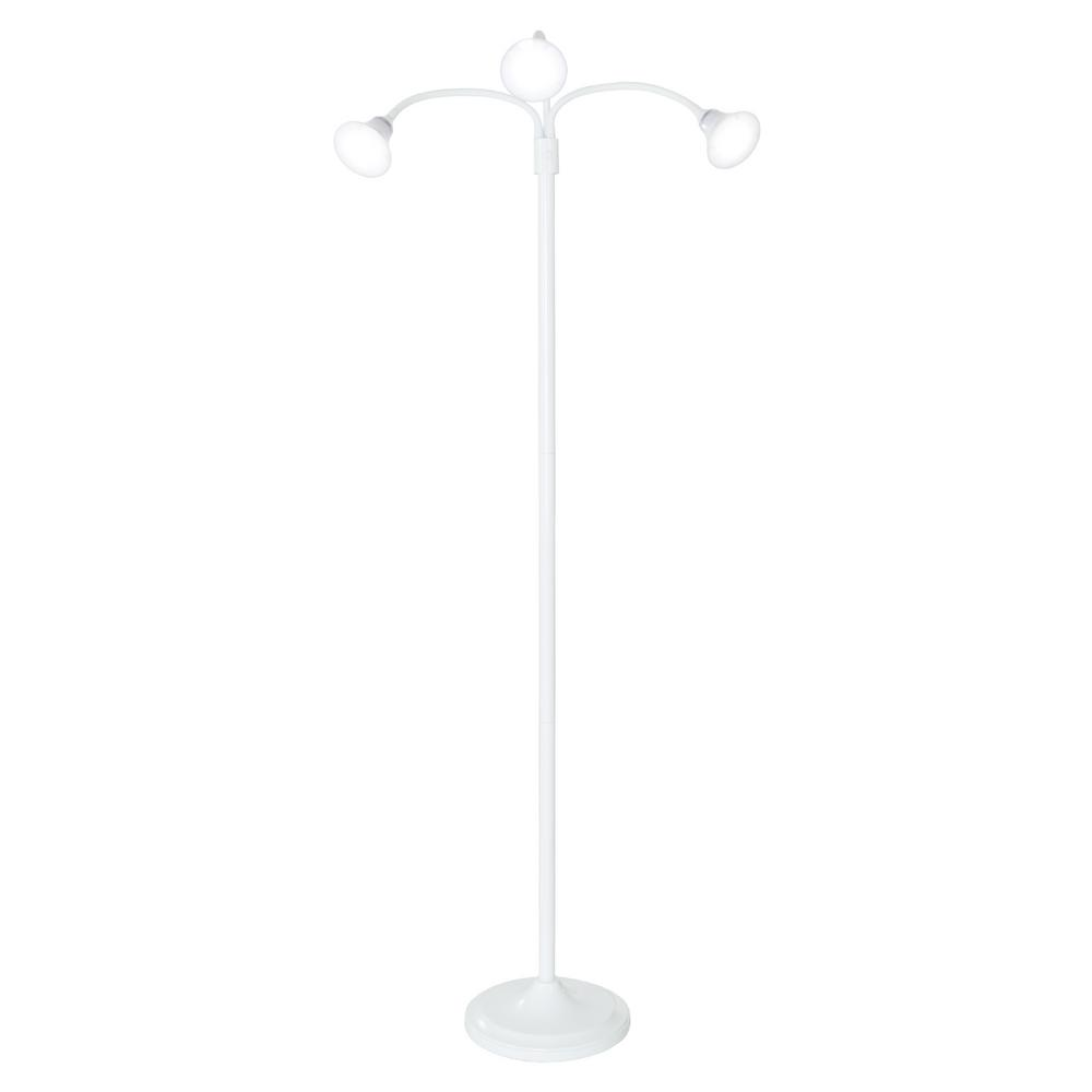 Lavish Home 69 in. White 3-Headed Floor Lamp with Adjustable Arms
