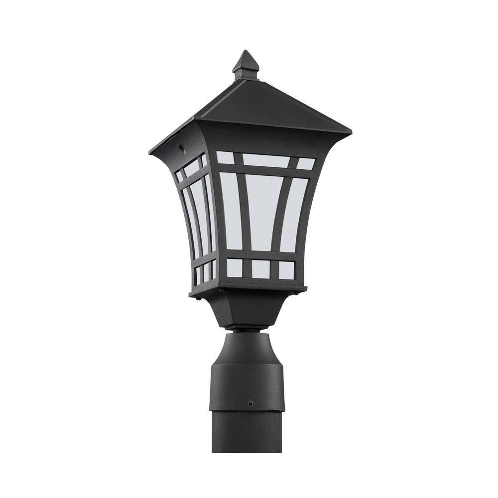 Herrington 1-Light Outdoor Black Post Light with LED Bulb