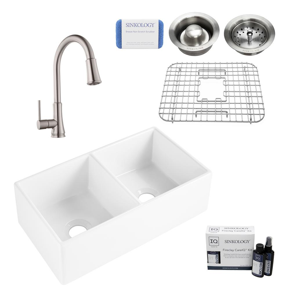 SINKOLOGY Brooks II All-in-One Farmhouse/Apron-Fireclay 33 in. 50/50 Double Bowl Kitchen Sink with Faucet and Drain in Stainless