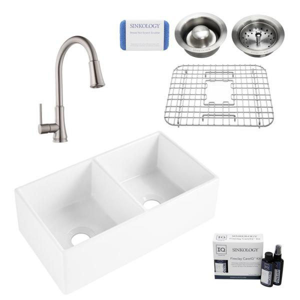 Brooks II All-in-One Farmhouse/Apron-Fireclay 33 in. 50/50 Double Bowl Kitchen Sink with Faucet and Drain in Stainless