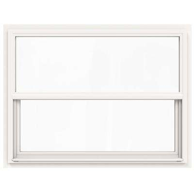 42 in. x 36 in. V-4500 Series White Single-Hung Vinyl Window with Fiberglass Mesh Screen