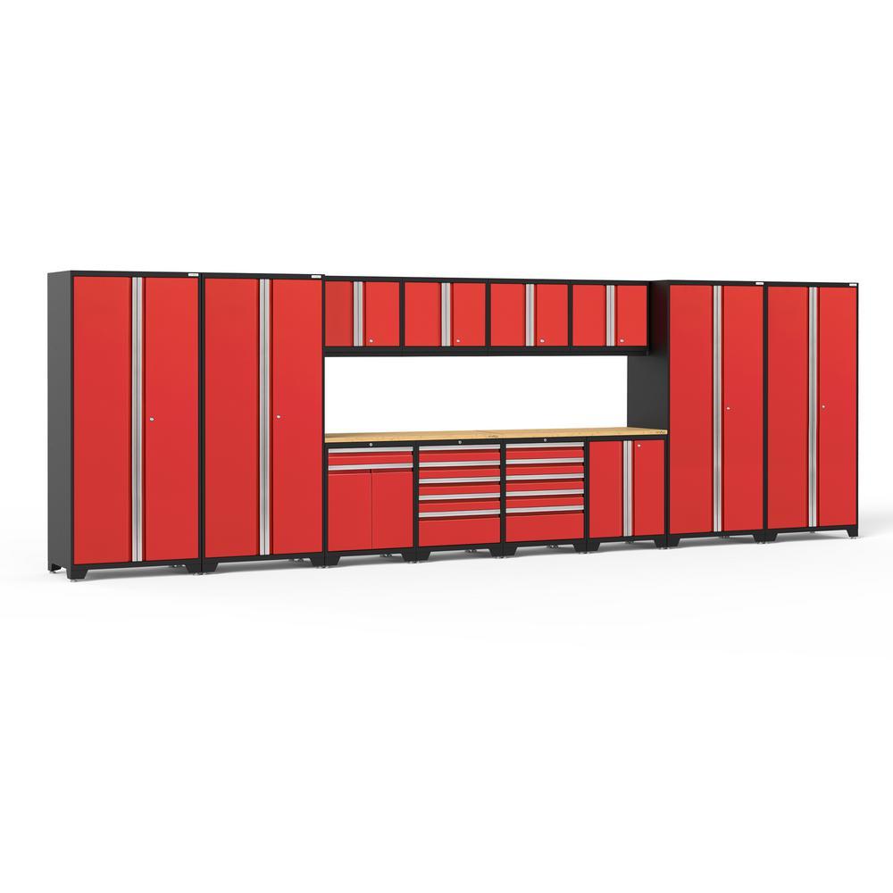 Pro 3.0 256 in. W x 83.25 in. H x 24 in. D 18-Gauge Welded Steel Bamboo Worktop Cabinet Set in Red (14-Piece)