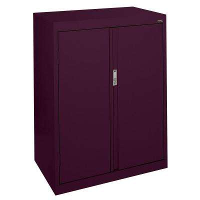 System Series 30 in. W x 42 in. H x 18 in. D Counter Height Storage Cabinet with Fixed Shelves in Burgundy