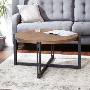 Internet 307362063 Silverwood Dakota Gray And Brown Round Wood Top Coffee Table