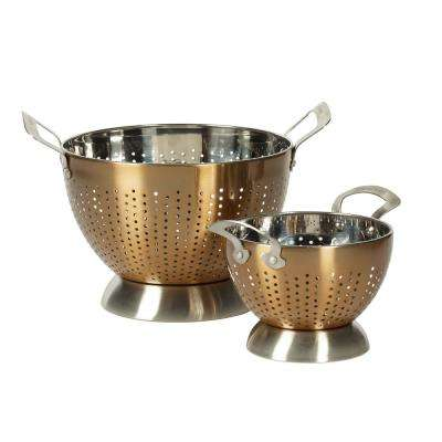 Stainless Steel Copper Colander (Set of 2)