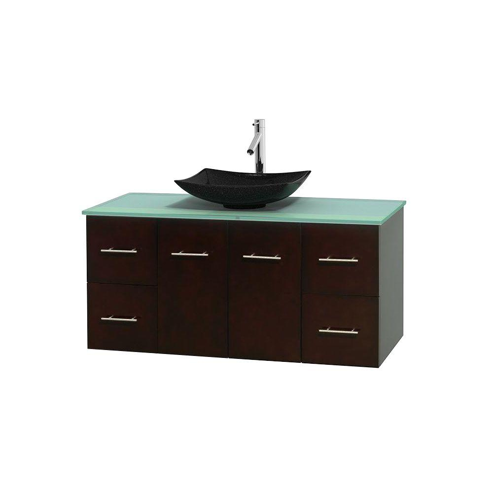 Wyndham Collection Centra 48 in. Vanity in Espresso with Glass Vanity Top in Green and Black Granite Sink