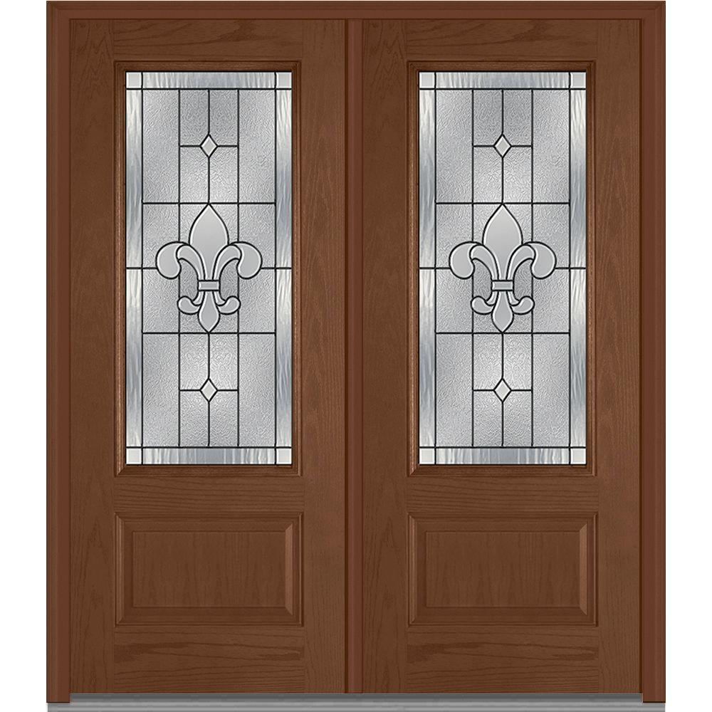 Mmi Door 74 In X In Carrollton Decorative Glass 3 4 Lite Oak Finished Fiberglass