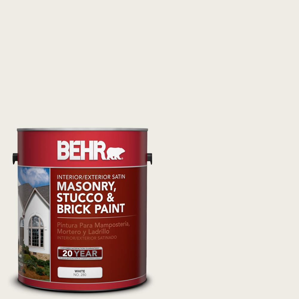 BEHR 1 gal. #PPU7-12 Silky White Satin Interior/Exterior Masonry, Stucco and Brick Paint