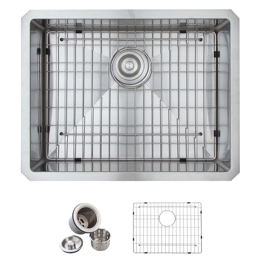 GLACIER BAY All-in-One Undermount Stainless Steel 23 in. Single Bowl Kitchen Sink in Satin