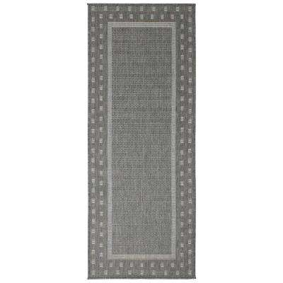 Jardin Collection Gray Contemporary Bordered Design Indoor/Outdoor 1 ft. 8 in. x 4 ft. 11 in. Jute Back Runner Rug