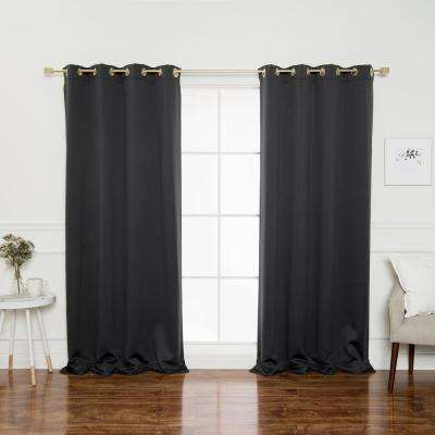 Gold Grommet 84 in. L Triple Weave Blackout Curtain Panel in Dark Grey (2-Pack)