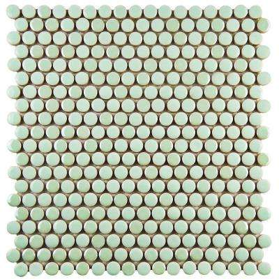 Galaxy Penny Round Mint 11-1/4 in. x 11-3/4 in. x 9 mm Porcelain Mosaic Tile