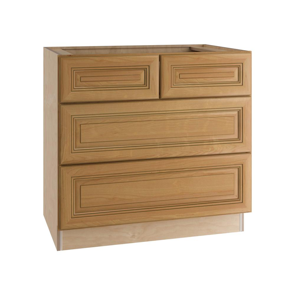 Home Decorators Collection Lewiston Assembled 36x34.5x24 in. 4 Drawers Base  Kitchen Cabinet in Toffee Glaze
