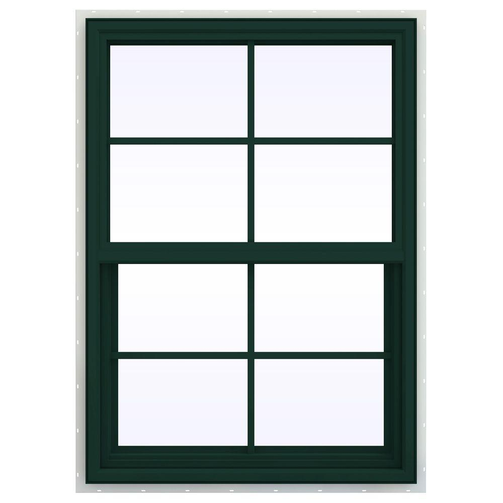 JELD-WEN 29.5 in. x 47.5 in. V-4500 Series Single Hung Vinyl Window with Grids - Green