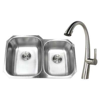 Undermount Stainless Steel 32 in. 60/40 Double Bowl Kitchen Sink with Faucet Brushed Nickel