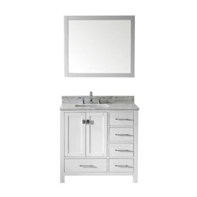 Virtu USA Caroline Avenue 36 in. W Bath Vanity in White with Marble Vanity Top in White with Square Basin and Mirror