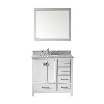 Caroline Avenue 36 in. W Bath Vanity in White with Marble Vanity Top in White with Square Basin and Mirror