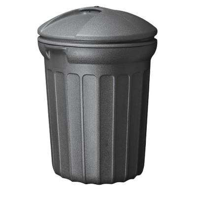 32 Gal. Blow Molded Trash Can in Black