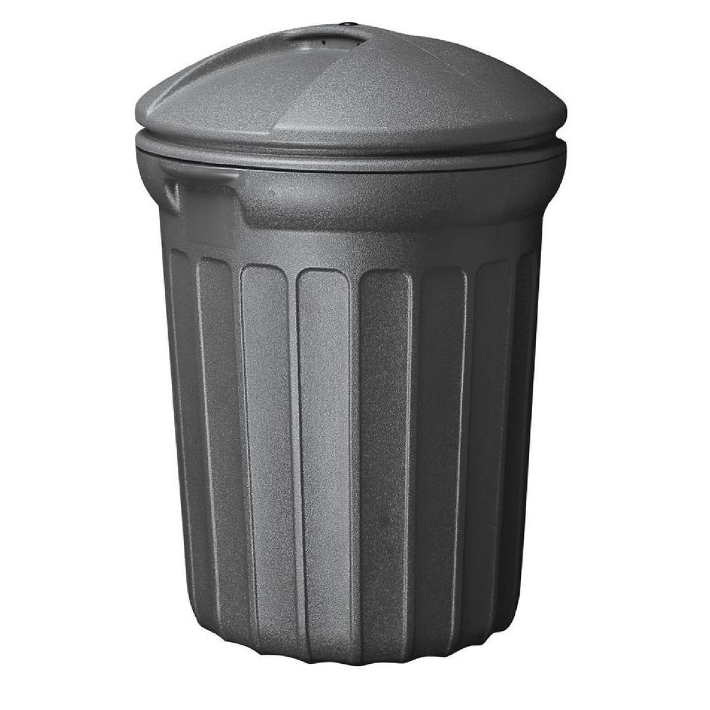 United Plastics 32 Gal. Blow Molded Trash Can in Black