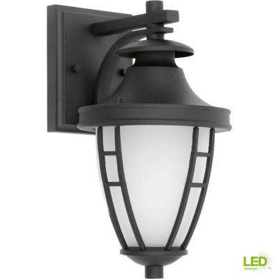 Fairview Collection 1-Light 11.75 in. Outdoor Textured Black LED Wall Lantern