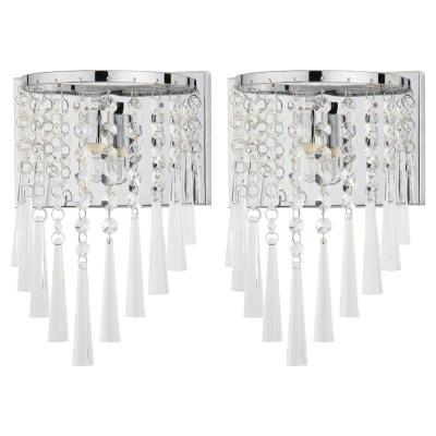 Tilly 4.75 in. 1-Light Chrome/Clear Beaded Wall Sconce (Set of 2)