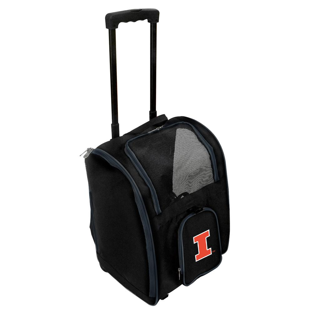 NCAA Illinois Fighting Illini Pet Carrier Premium Bag with wheels in