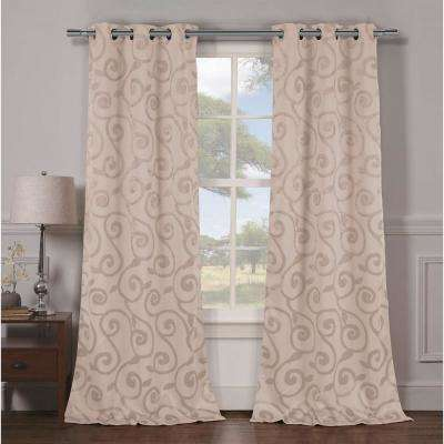 Semi-Opaque Lewis 84 in. L Grommet Panel in Taupe (2-Pack)