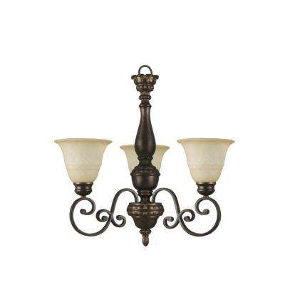 Carina 3-Light Aged Bronze Chandelier with Tea-Stained Glass Shade