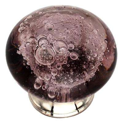 1-1/2 in. Merlot Bubbled Glass Cabinet Knob